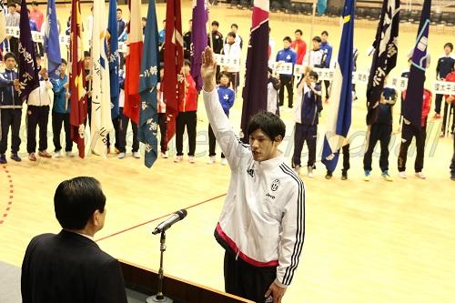 選手宣誓を行なった函館大・鹿子島京美選手