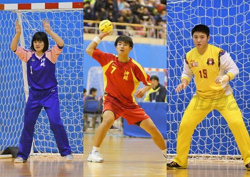 オリンピック有望選手に選ばれた3選手。左から沖縄女子・比嘉、沖縄男子・伊禮、富山男子・松下